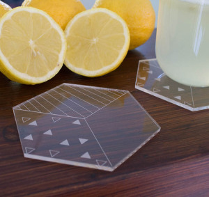 Clear acrylic laser cut engraved drink coasters hexagon cup mats