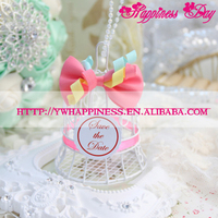 White Bird Cage Wedding Gift Box Favors Metal Birdcage with Pink Bow Candy Boxes