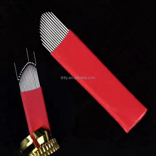 New arrival 15pin Arc edge microblading blades 3D manual eyebrow tattoo pen needles 15CF disposable permanent makeup embroidery