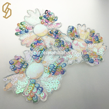Hot selling widly using beautiful decoration garment sequin embroidery sewing on patch