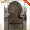 French Provincial Canopy Birdcage Chair/ Vintage Limed Gray Oak Wooden Linen Upholstered Egg Chair, Shell Leisure Chair