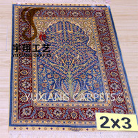 260lines muslim prayer carpet 2x3ft qum rug 100% silk rugs