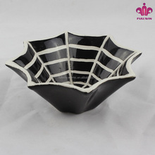 Hot sale hand painted halloween ceramic candy bowls with spider pattern