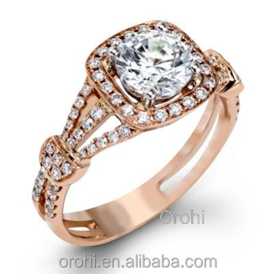 2015 Spring Big Round 0.37ct Real Diamond Solid Rose Gold Engagement Ring