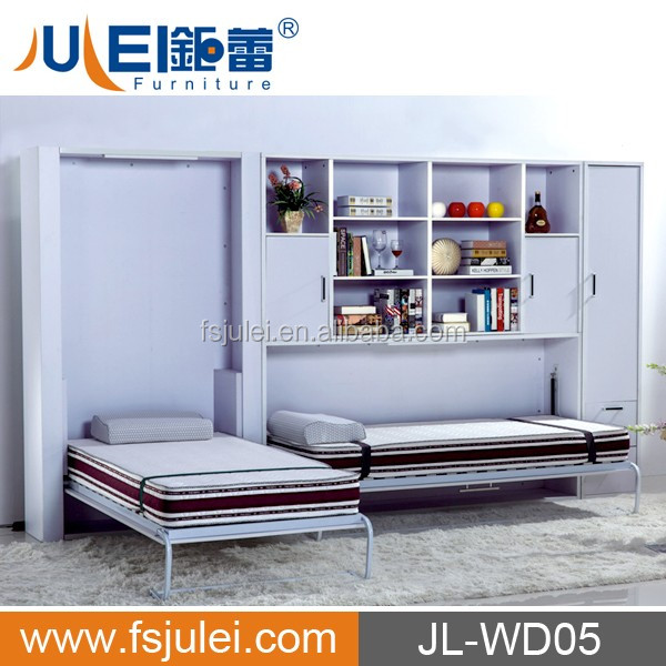 modern space-saving furniture wooden wall / murphy bed set JL-WD05 with book shelf
