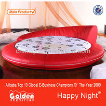 Golden Furniture Moden red round leather bed frames (6811)