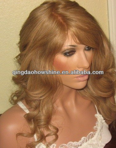 nice looking top beauty stock wavy indian remy lace wigs for white people