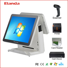 Elanda fast food restaurant equipment with thermal printer,all in one touch screen pos system