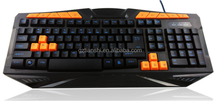 Hotsale orange keys wired game keyboard