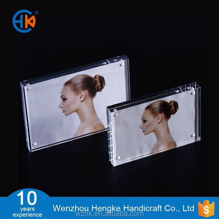 Double Sided Square Design clear acrylic photo frames 4x6 with magnets