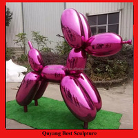Large Size Outdoor Stainless Steel Ballon Dog Statue Sculpture