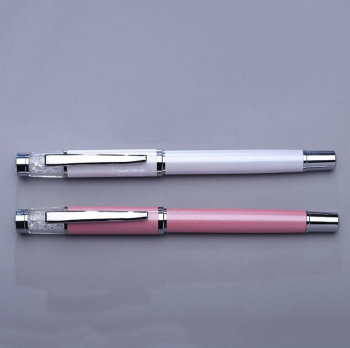 Top-sale customized bling souvenirs crystal ball pen pearl pink with cap