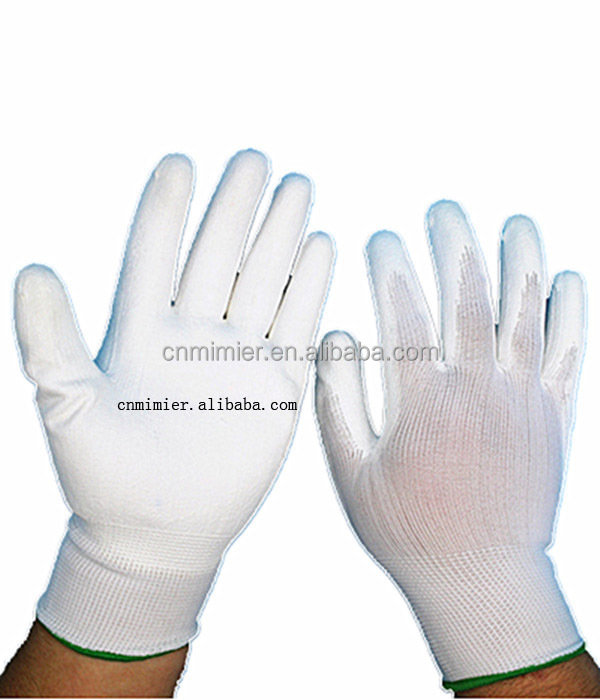 Pure white color silk feel non-slip cotton knitted working safety gloves