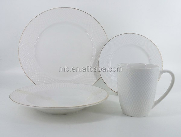 hotel dinner set luxury Turkish porcelain tableware with embossments