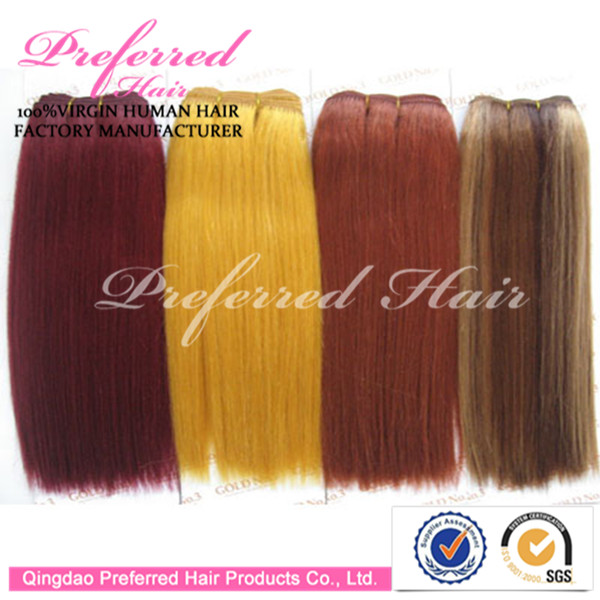 Colored(Burg/144#/Orange/12#) Fashionable Style 14'' Yaki Straight 100% Cheap Virgin Remy Peruvian HairExtension Wholesale Price