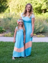 mommy and me maxi dress new blue and pink 2015 summer maxi dress
