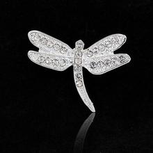 Hot Sale Fashion Jewelry Silver Plated Vintage Lovely Dragonfly Brooches Crystal Rhinestone Brooch Scarf Pins Brooches For Women