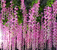 Factory hot selling wall hanging artificial flowers artificial purple flower Chinese wistaria fake flower make wedding tree