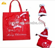Recycled Christmas hat foldable polyester bag