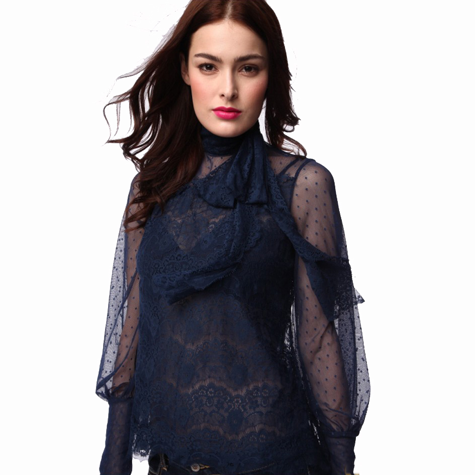 OEM dark blue tinggi neck sexy long sleeve lace crochet blouse