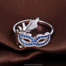 Fashion Cute Ring Silver Zircon Mask Ring Jewelry