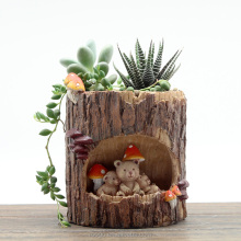 Roogo polyresin home & garden decoration tree hole animal succulent plants flower pots