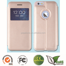 High quality leather cover For Iphone 6 mobile phone case with window