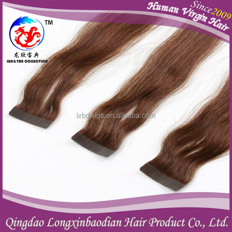2015 New Style Top Grade Silky Straight Natural Wavy Brown Color Indian Skin Weft Pu Cuticle Remy Virgin Tape Hair Extension