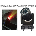 HOT NEW 2in1 Mini Stage Light 75W Spot 9pcs 6in1 RGBWA+UV Wash LED Moving Head for Party