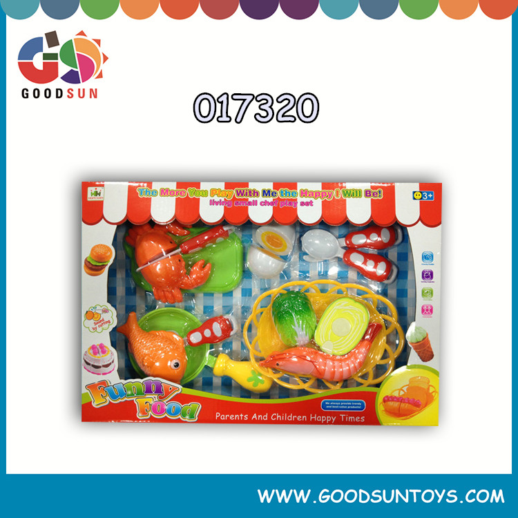2016 Hot selling happy play 67pcs fruits and vegetables funny food plastic children cooking kitchen toy chenghai