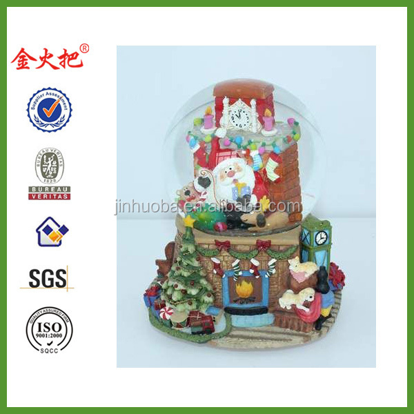 100mm Lighted Christmas Water Snow Globes Musical With OEM Acceptable