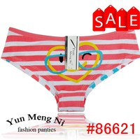 New fashion design striped printed ladies panties glass printed cartoon young ladies panties