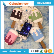 Wholesale price ice cream power bank 2600mah,3000mah,ice cream promotion gift high battery