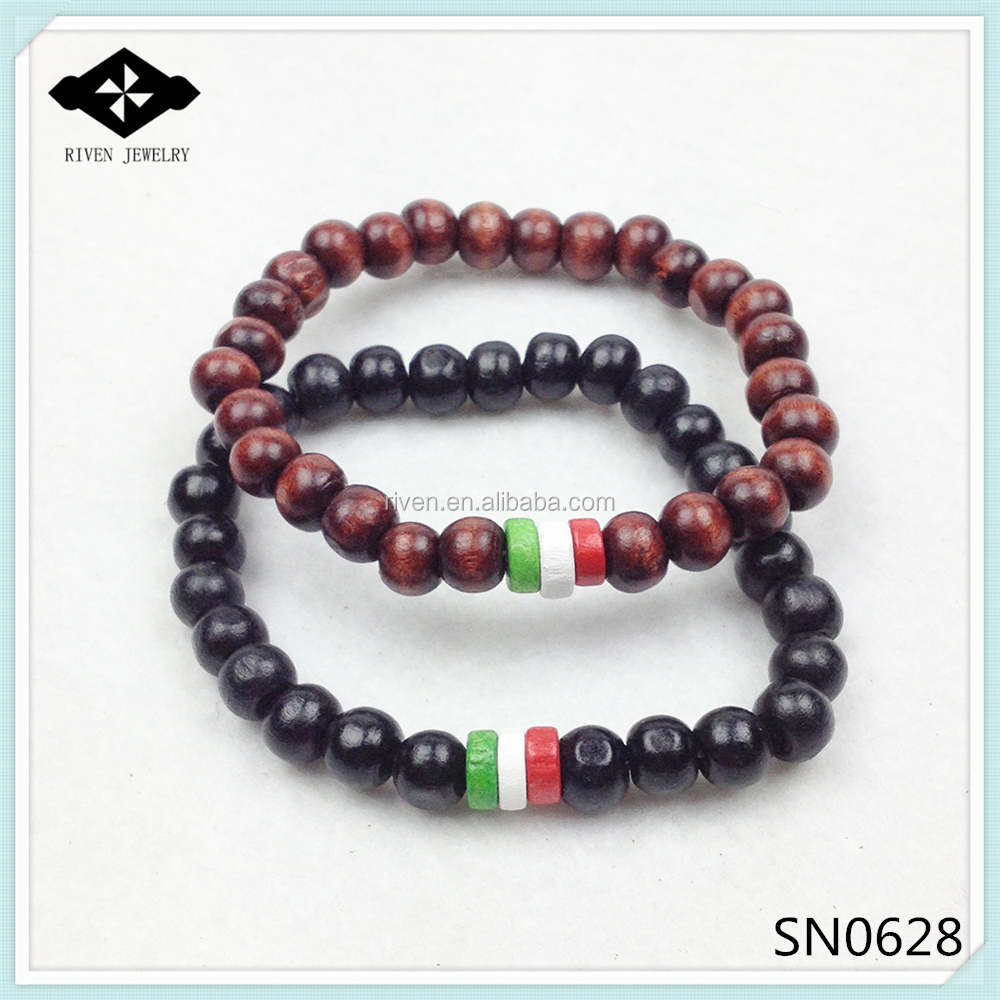 SN0628 Hot Sale flag bracelet custom flag Wood Beads Bracelet Italy Flag Bracelet