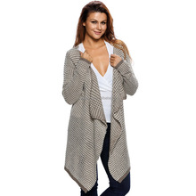 Fashionable fat women open front loose women diamond knitted cardigan sweater