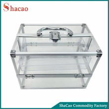 Professional clear transparent acrylic makeup case beauty cosmetic case