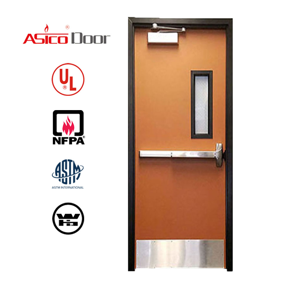 American Standard Size UL Listed Fire Rated Steel Hollow Metal Commercial <strong>Door</strong> With Panic Push Bar And Glass