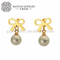 stainless steel gold plated butterfly knot earrings with gray pearl for women
