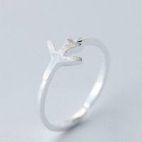Fashion Plain 925 Silver Matt Plane Aircraft Open Size Ring Nice Women Airplane Jewelry Wedding Bijoux