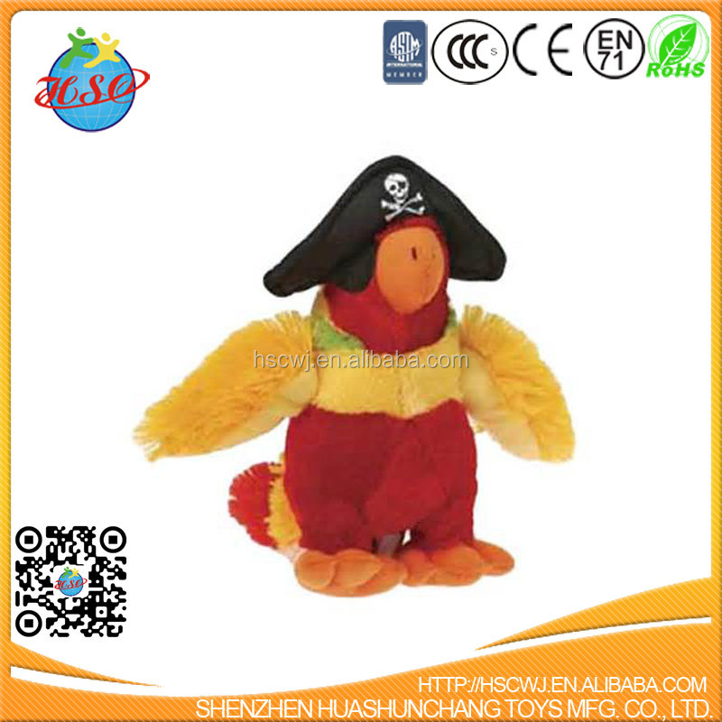 Plush pirate parrot stuffed animal soft toy