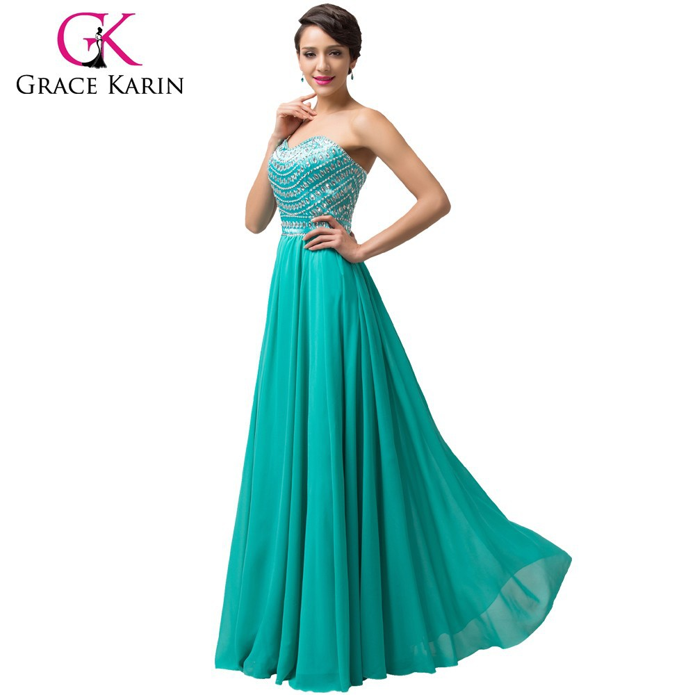 Grace Karin Fashion Ladies Nice Design Chiffon Floor Length Emerald Green Evening Dress 2015 CL6164