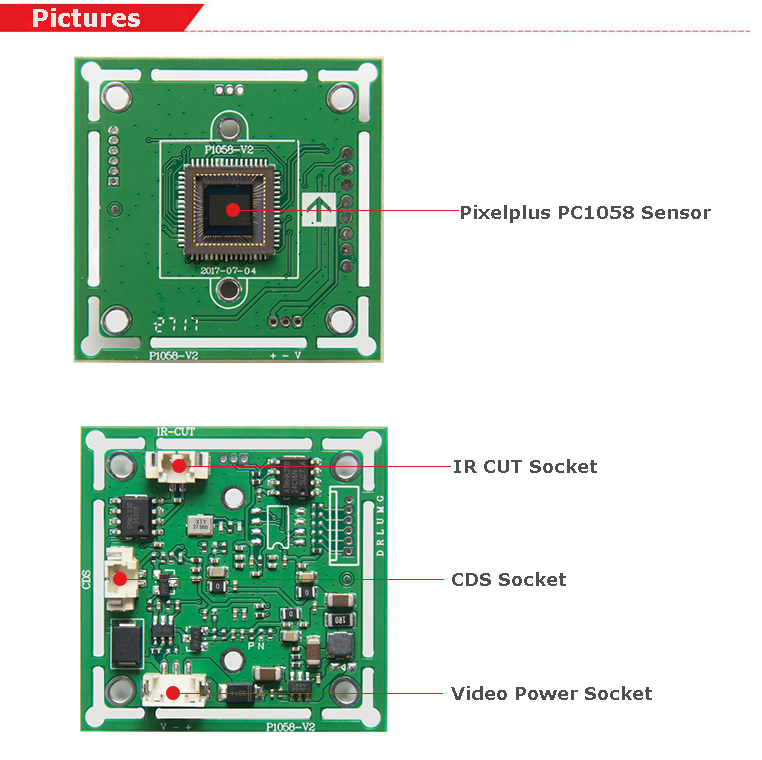 Day and Night Vision IR Camera Module CMOS with IR Cut Filter