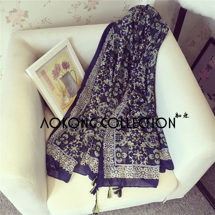 2016 navy color baroque style lace border oversize scarf with tassel