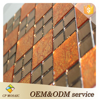 China Manufacturer Gold Foil Water Jet Self Adhesive Glass Mosaic Kitchen Backsplash Wall Tiles For Wall Decoration
