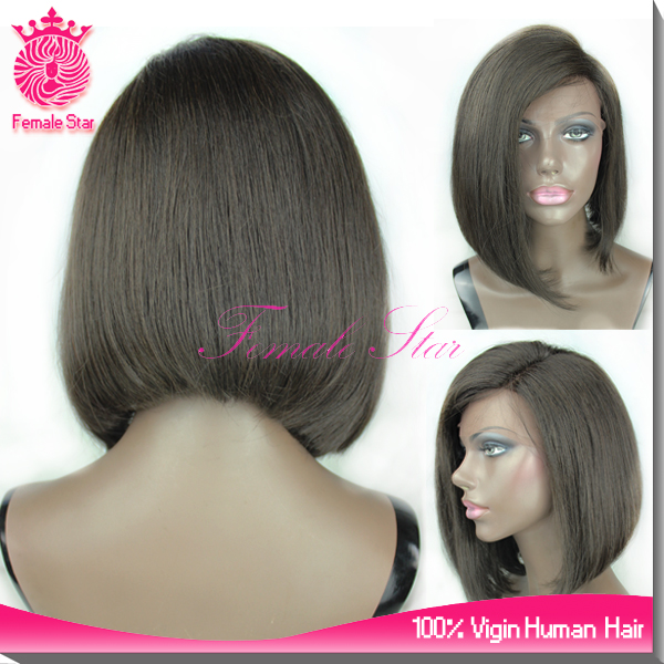 Top selling natural black side bangs short bob style human hair wig