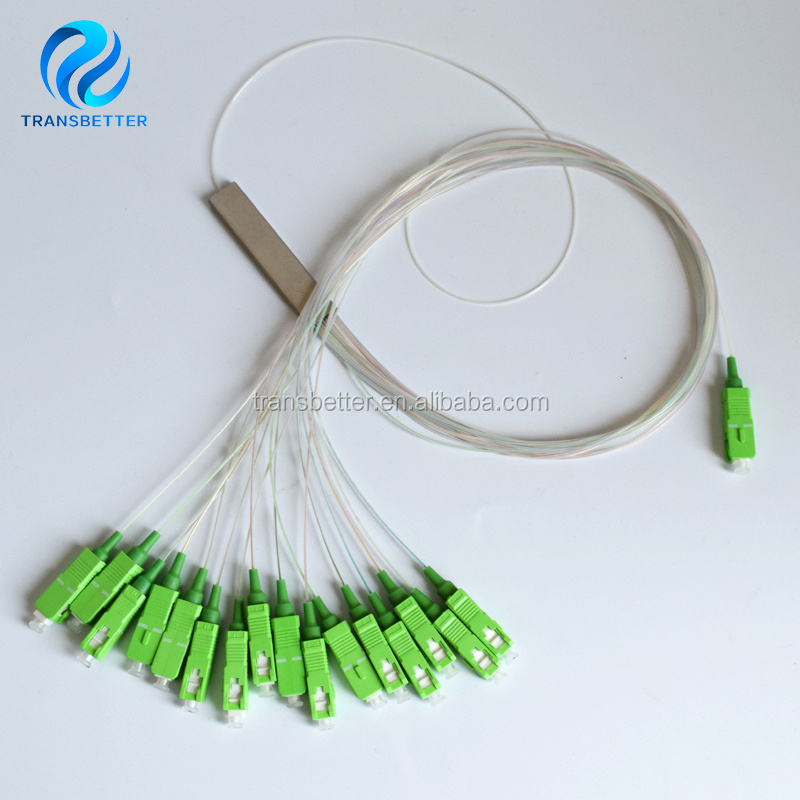 0.9mm Steel Tube 1x16 Mini SC/APC Connector 1:16 16 Ports Fiber Optical PLC Splitter