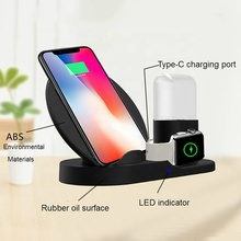 10W 7.5W 3 in 1 Wireless Charger Stand Station Fast Wireless Charging Dock for iPhone apple watch Air pod