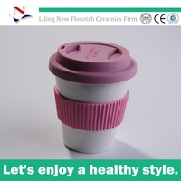 white starbucks double wall ceramic coffee travel mug with silicone lid for ND0005
