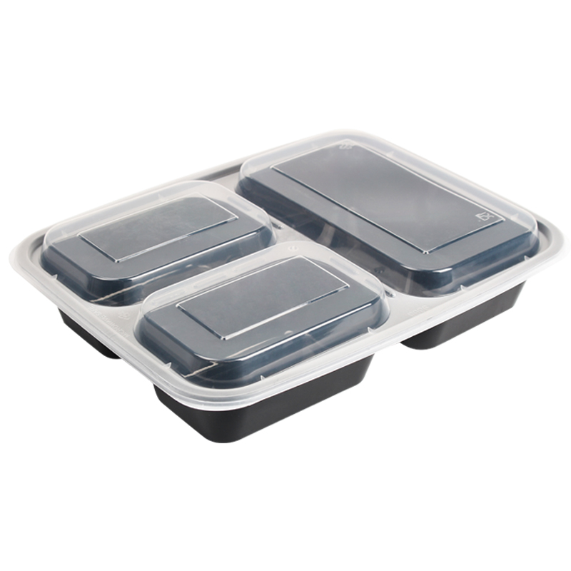 Disposable 3 compartment <strong>plastic</strong> take away bento lunch box food container