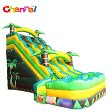 Coconut tree theme inflatable water slide with pool